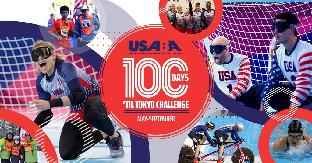 A colorful red, white and blue graphic showing various athletes competing in goalball, running, skiing, cycling and swimming. Text reads \\
