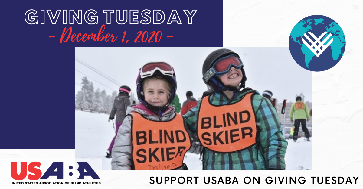 Brother and sister Zoe and Logan Galloway smile for the camera on the ski slopes while wearing their helmets, goggles and Blind Skier bibs. Text reads \