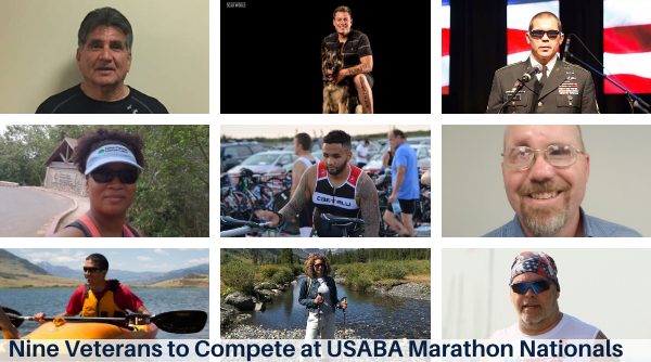 A montage of the nine veterans competing at the upcoming 2019 USABA Marathon Nationals