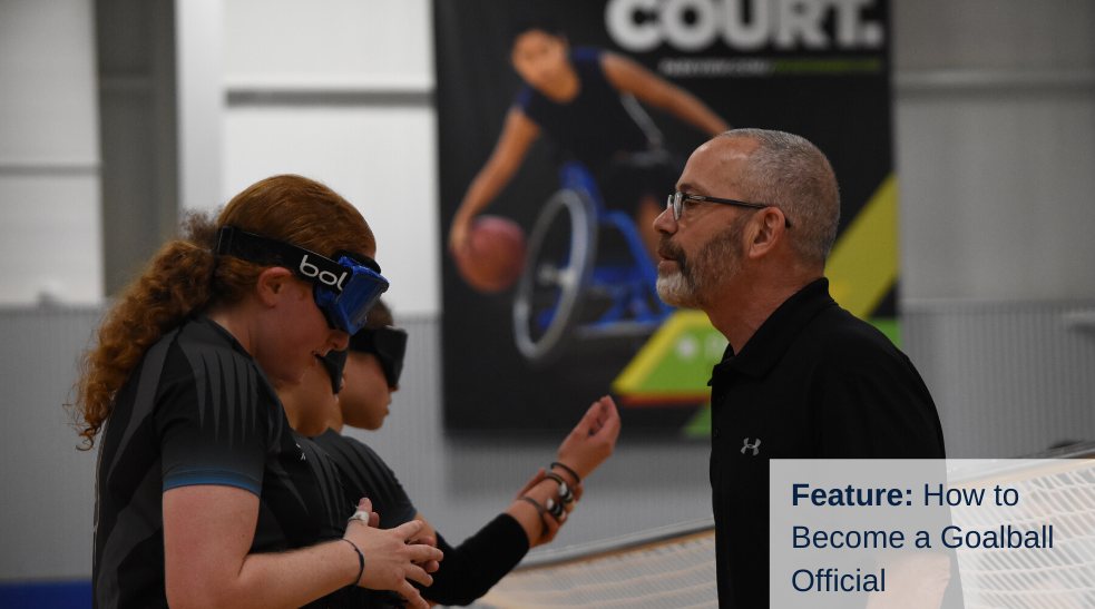 A female goalball official checks the eyeshades of a male player from Spain during the 2019 International Goalball Qualifier in Fort Wayne, Indiana.