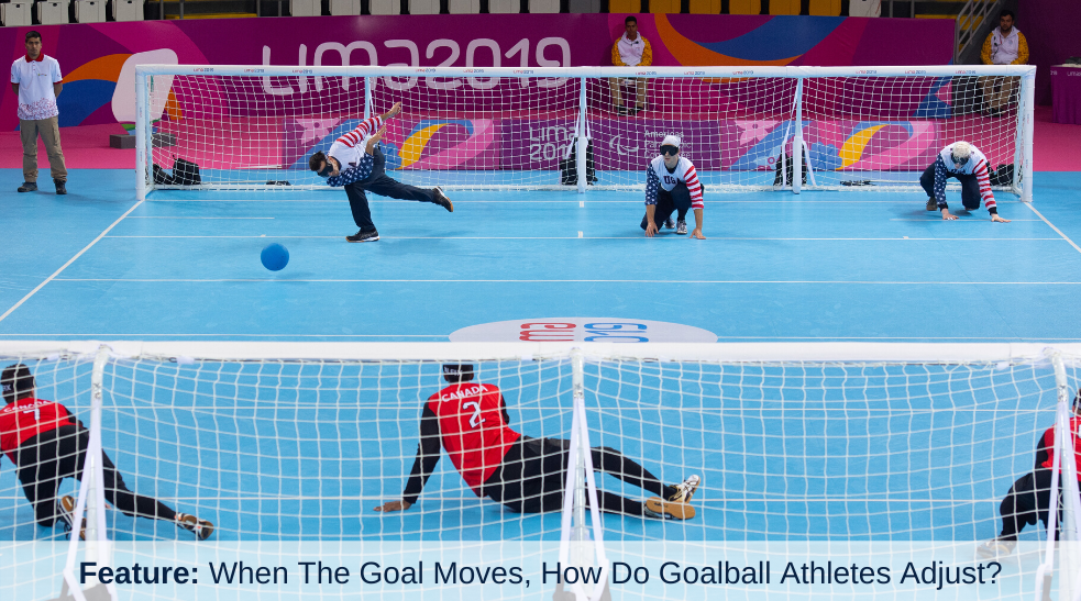 Tyler Merren of the U.S. men\\\\\\\'s goalball team throws the ball toward the opponent\\\\\\\'s goal. The camera angle is a wide shot from behind the opponent\\\\\\\'s goal.
