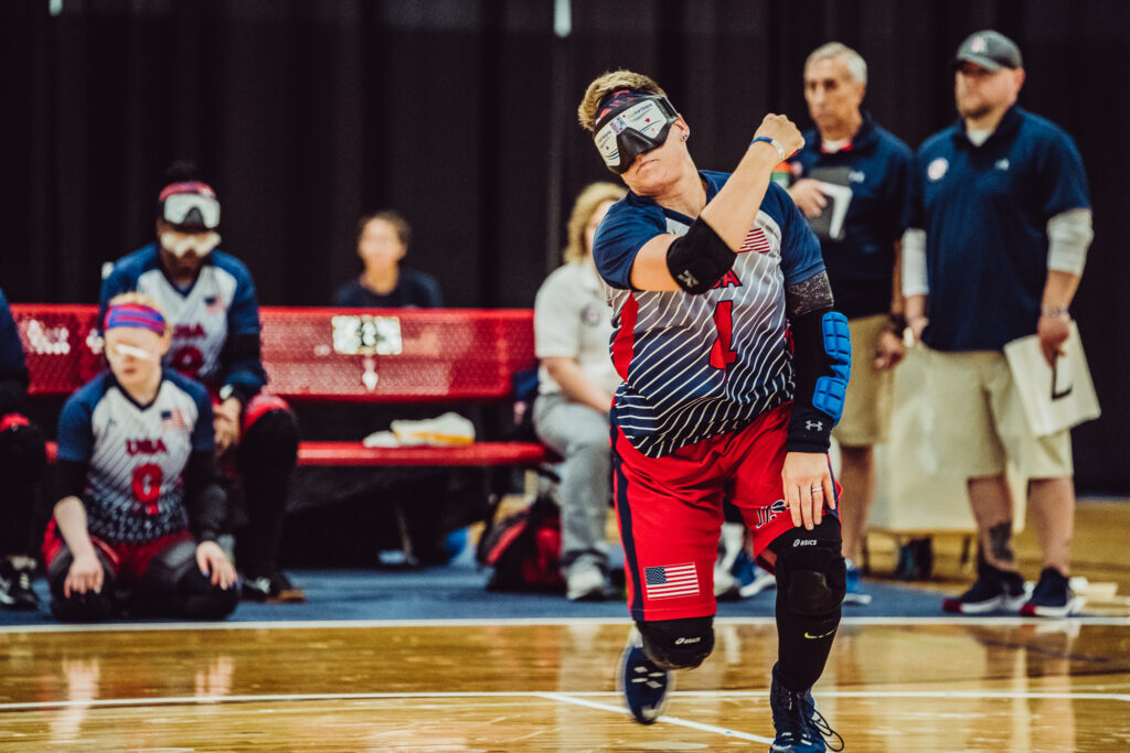 Asya follows through on a throw during the 2019 IBSA International Goalball qualifier in Fort Wayne, Indiana.