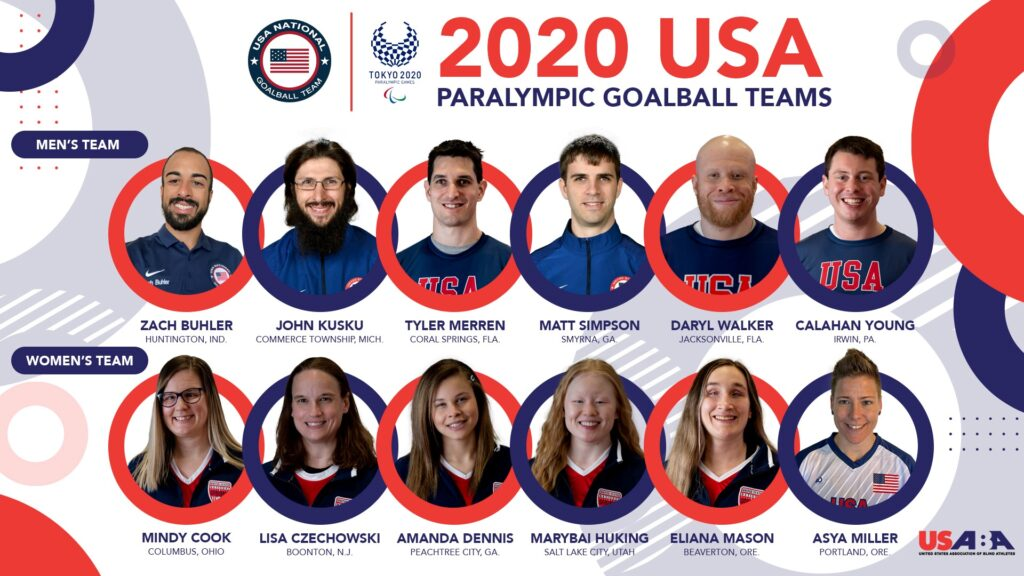 Graphic shows headshot photos of the six men and six women named to the 2020 U.S. Paralympic Goalball Team, along with their hometowns.