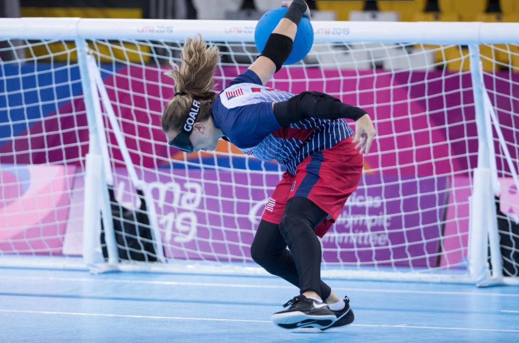 Eliana Mason winds up to throw the goalball during the 2019 Parapan American Games in Lima, Peru.