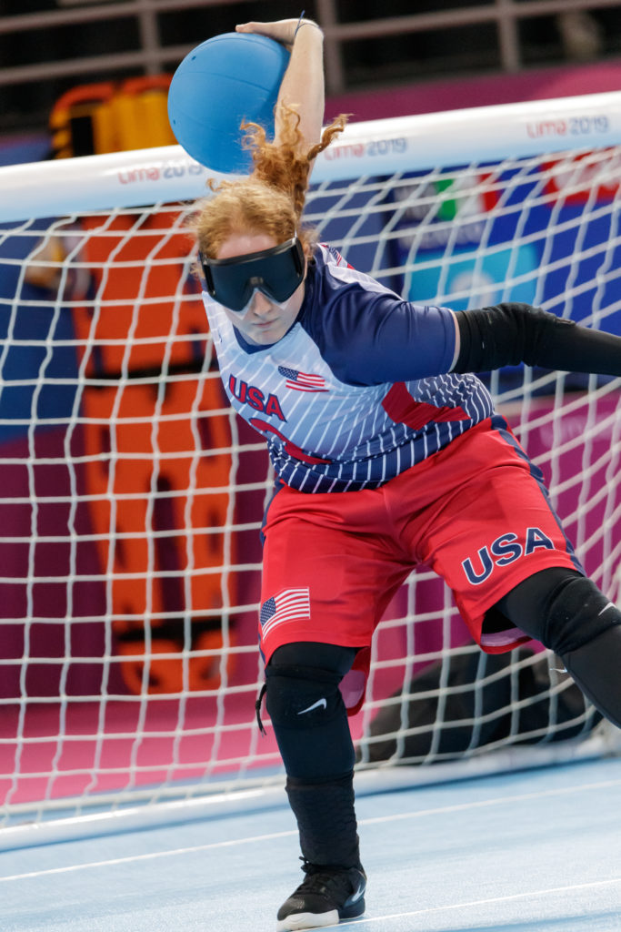 Ali Lawson winds up to throw a goalball during the 2019 Parapan American Games In Lima, Peru