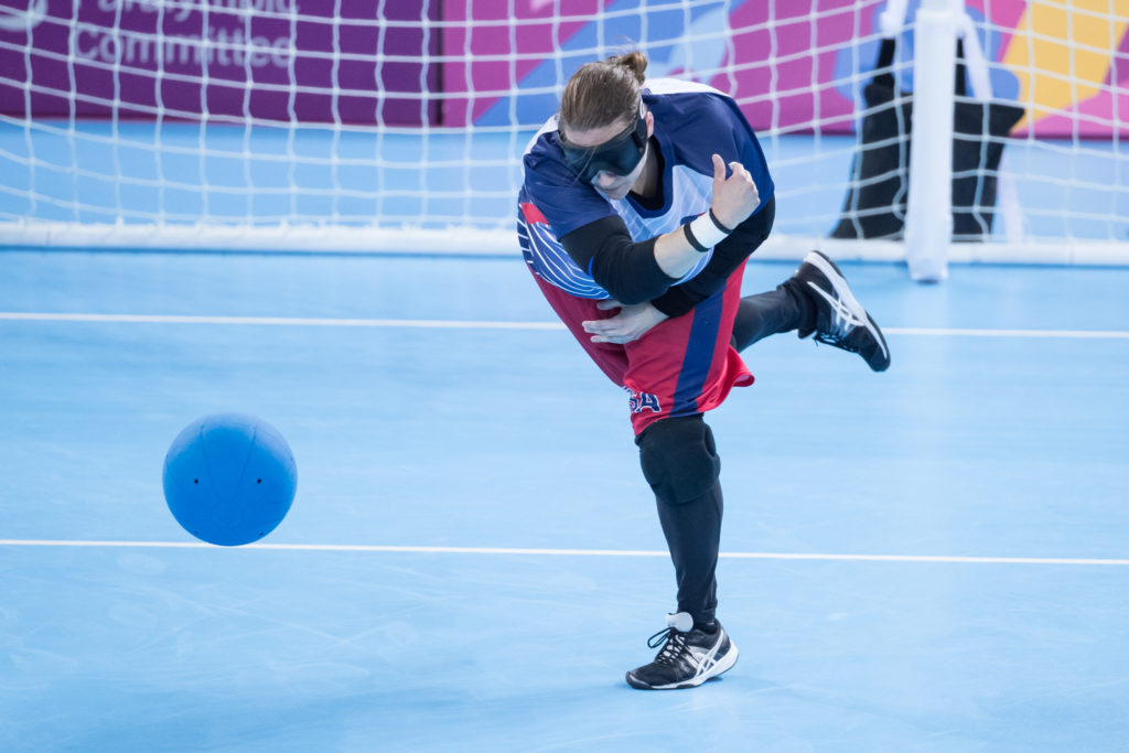 Lisa Czechowski throws a goalball toward her opponent's goal during the 2019 Parapan American Games in Lima, Peru.