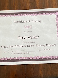 A certificate showing Daryl's completion of his 200-hour teacher training program.