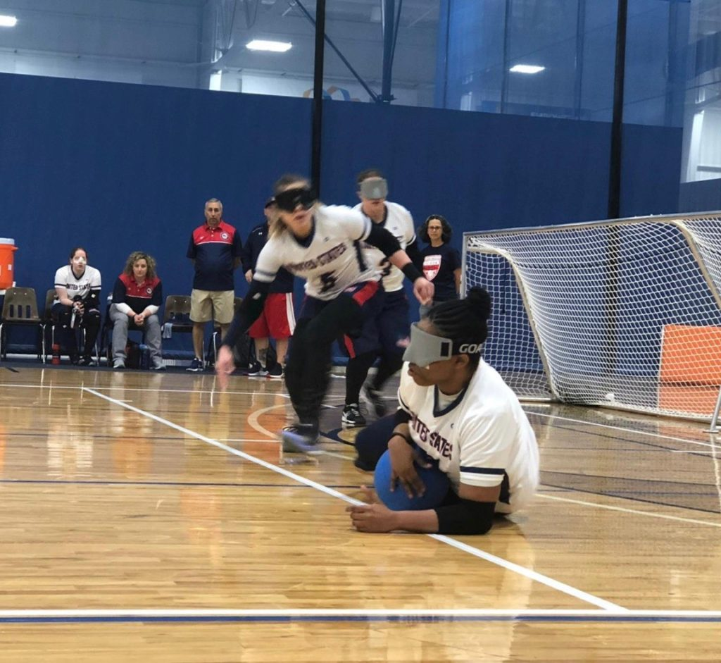 Shavon Lockhardt stops a goalball in front of her net during the 2019 IBSA Goalball International Qualifier in Fort Wayne, Indiana