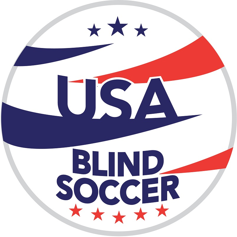 """A USA Blind Soccer logo shows a circle with red and blue stripes slashing in from both sides and the words """"USA Blind Soccer"""" in the middle. There are three blue stars across the top and five red stars across the bottom."""