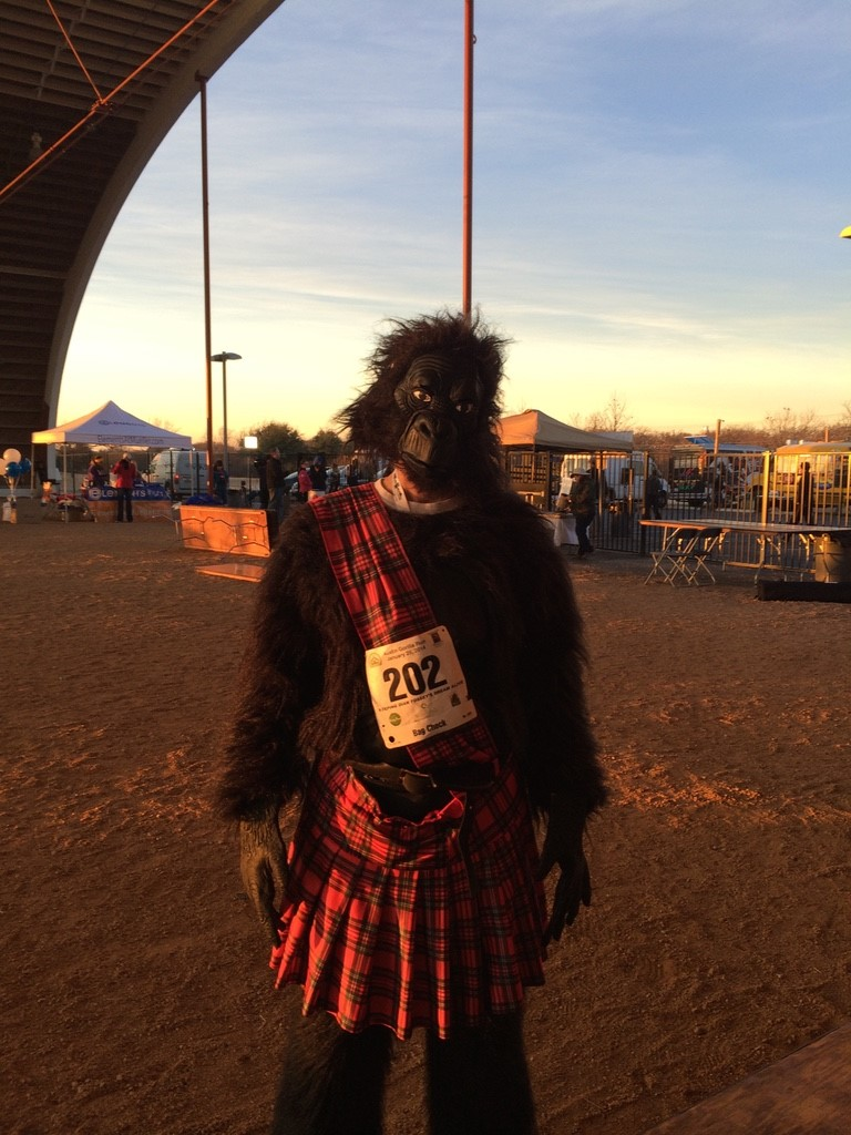 William participating in the Austin Gorilla Run, a 5k that raises money to save the endangered Mountain Gorilla. For this race, all racers wear a gorilla costume and some choose to add some flair such as William did with his addition of a kilt.